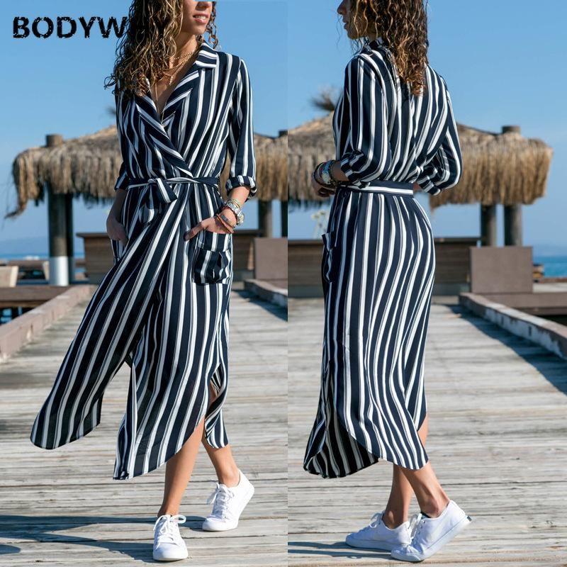 Robes Femmes Sexy Mode Struded Professionnel Fork Robe à rayures longues Vente chaude Vente européenne et américaine