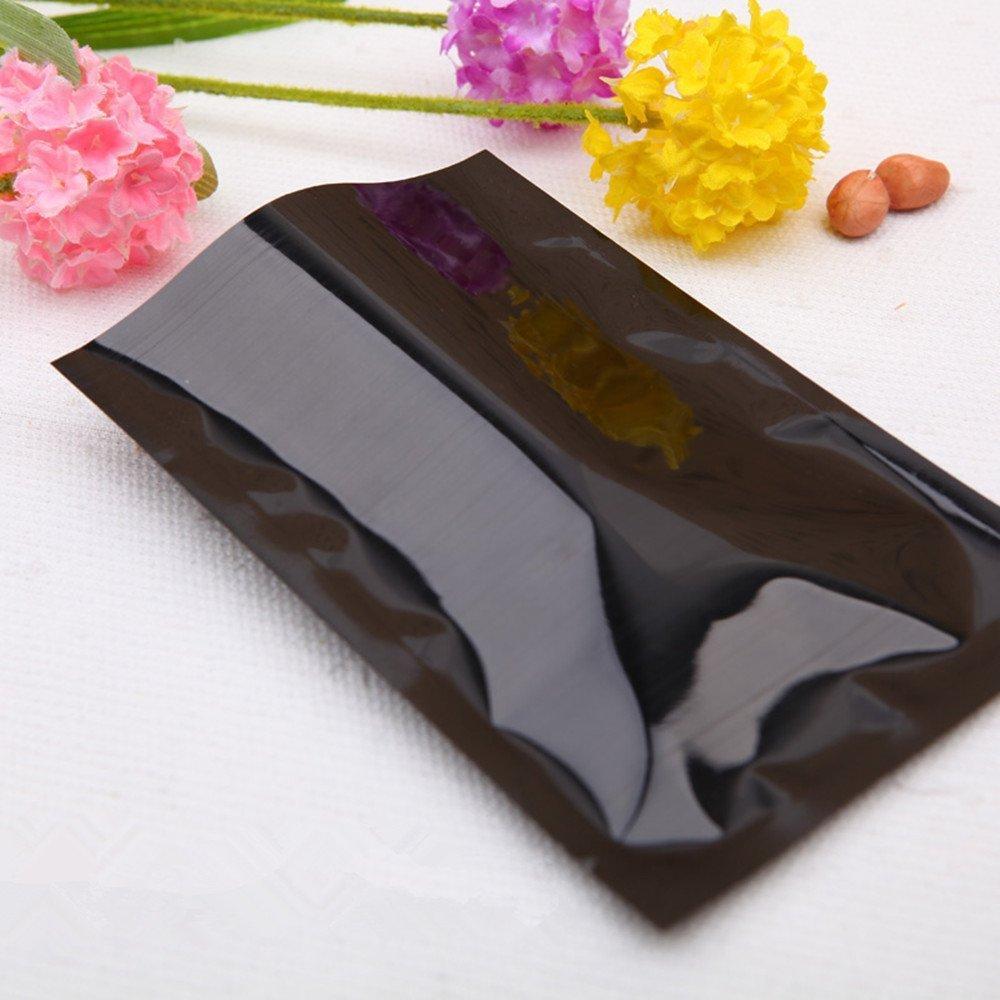 5x7 cm Siyah Alüminyum Folyo Açık Üst Paketi Kılıfı Isı Mühürlenebilir Vakum Gıda Sınıfı Ambalaj Çanta Snack Kurutulmuş Kuruyemiş Için Mylar Folyo Isı Mühür Pouccdfg