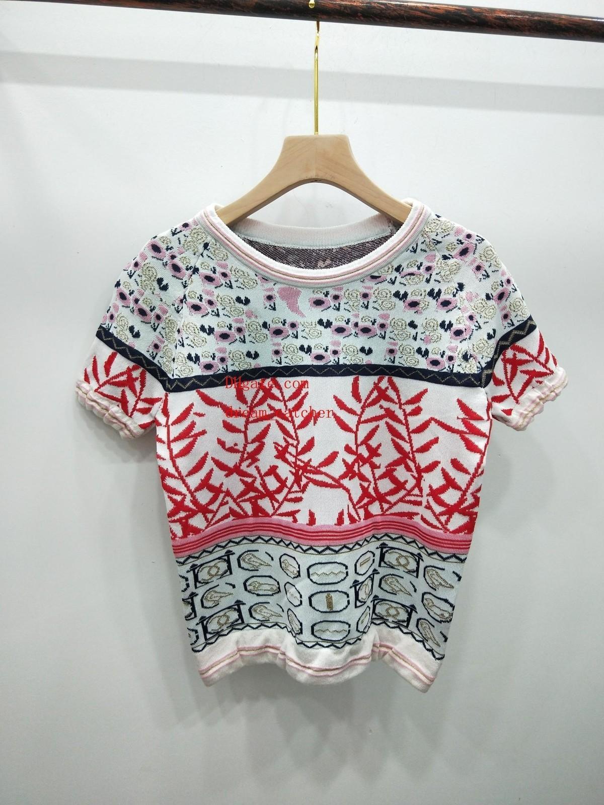 ropa de las mujeres de la marca de moda T verano camisa tapas de las mujeres suéter a rayas de manga corta camiseta de cuello redondo camisetas del verano tapas de las señoras que hacen punto
