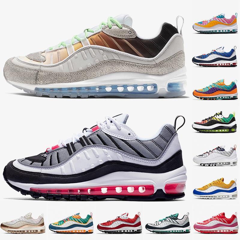 nike air max 98 max air 98 airmax air 98 2020 New Hot Moda Mens Red Running Shoes Mulheres Max Sneakers ouro rosa multicolorida Raptors Jogging Formadores Sneakers
