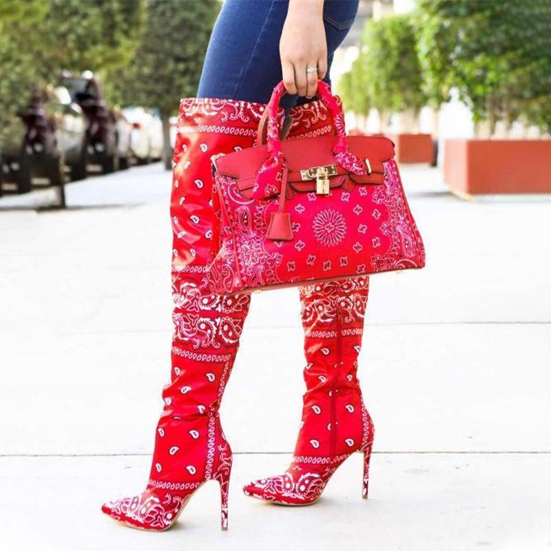 Kadınlar Bandana Boots Kadın Üzeri Diz Yüksek Boots Kadın Partisi Kadın Büyük Boy Lady Seksi İnce Yüksek topuk Kadın ayakkabı pompaları