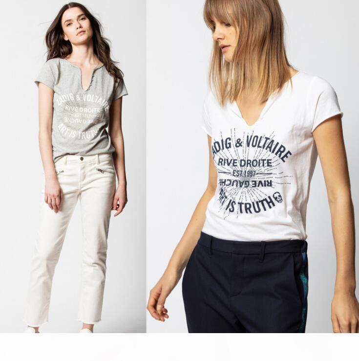 Summer 2020 New French Niche Zadig Monogrammed Hot Diamond U Collar Button Pure Cotton Short-Sleeved T-Shirt For Women