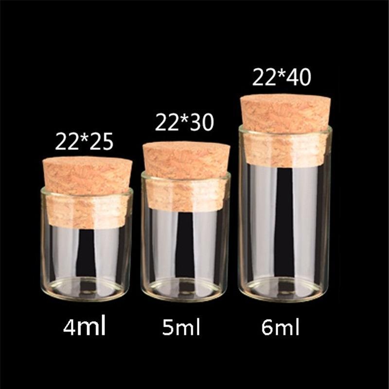 أنبوب اختبار صغير مع سداد الفلين 4 ملليلتر 5 ملليلتر 6 ملليلتر الزجاج سبايس زجاجة diy كرافت زجاجة الزجاج الشفاف زجاجة الانجراف t9i001124