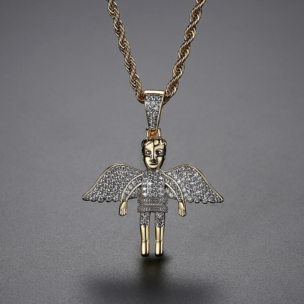 Bling Charm pleine zircons Hip Hop Ailes d'ange Pendentif Collier Bijoux brillant Homme Femme Cadeau de Noël