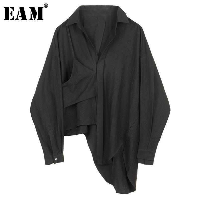 [EAM] Женщины черный асимметричный большой размер блузка Новый отворот с длинным рукавом свободные подходящие рубашки мода прилив весна осень Y200828