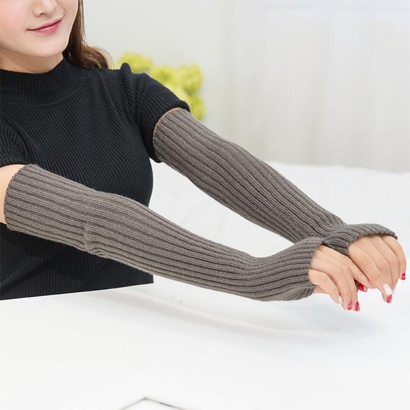 Пять пальцев перчатки мода длинно вязаная рука рукава манжета без пальцев осень женский локоть теплый сплошной цвет женские варежки 2021 девушки