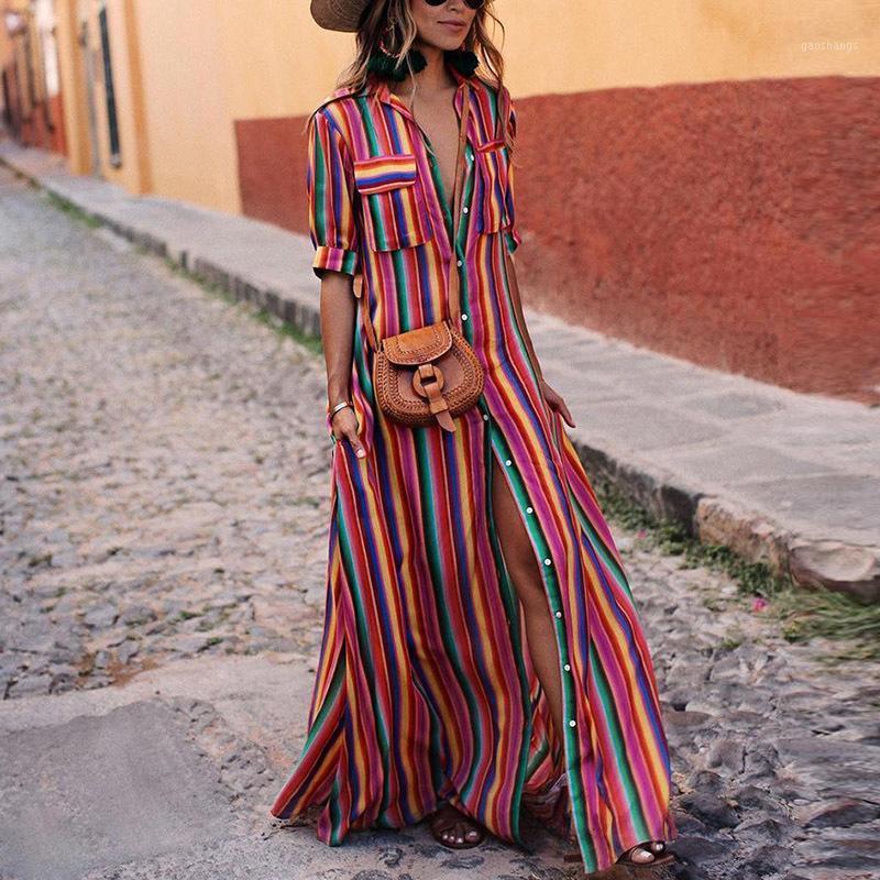 Tente tudo longo vestido listrado vestido de camisa vestidos 2018 mulheres maxi verão plus tamanho robe femme ete 20181