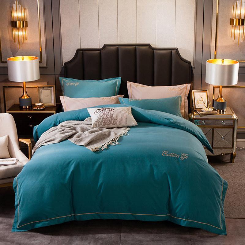 Estilo de luxo puro algodão macio da cama ajustado bordado capa de edredão Fronhas Fronhas Folha de cama Sólido Verde Azul Castanho Cinzento Rosa