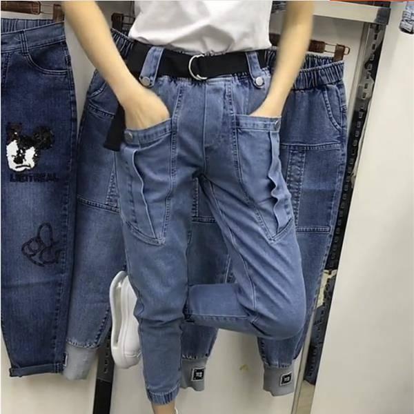 Jeans super extensibles de la taille des femmes multi-poches de la taille féminine de la mode élastique de la mode Harem Cargo Pantalons Streetwear