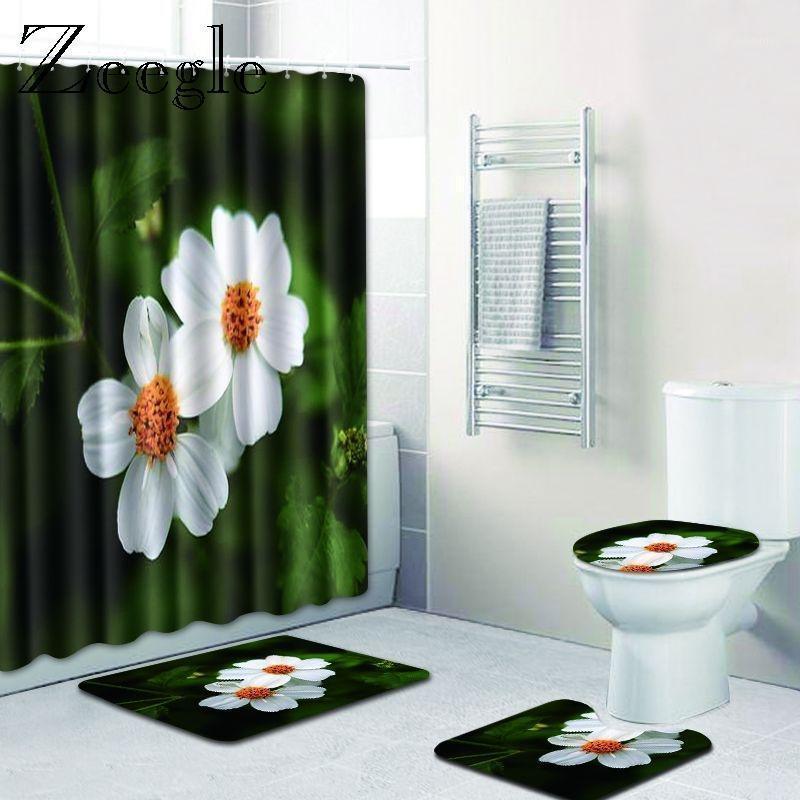 Alfombrillas de baño ZEEGLE 3D Patrón de paisaje floral impermeable Cortina de ducha Cortina de baño Set Pedestal alfombra tapa tapa inodoro cubierta wc alfombras1