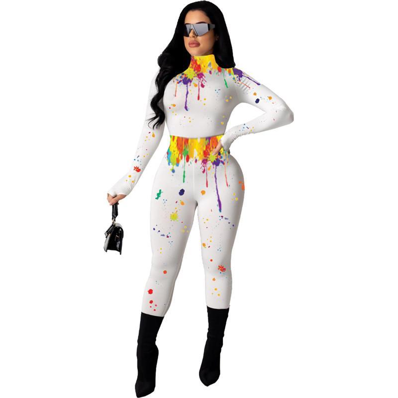 Женщины Tracksuit Shaping Высокий воротник с длинным рукавом Crop Top Брюки Леггинсы Цвет Всплеск чернила Йога двухкусочный Outfit Спортивный костюм 5 Цвет E92803