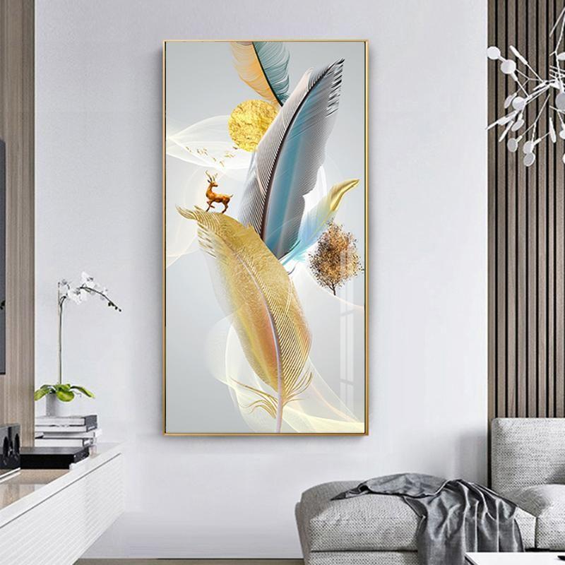 Nordic astratte piume variopinte con il cervo dorato ricco albero di pittura a parete per Immagini salone Cuadros Home Decor