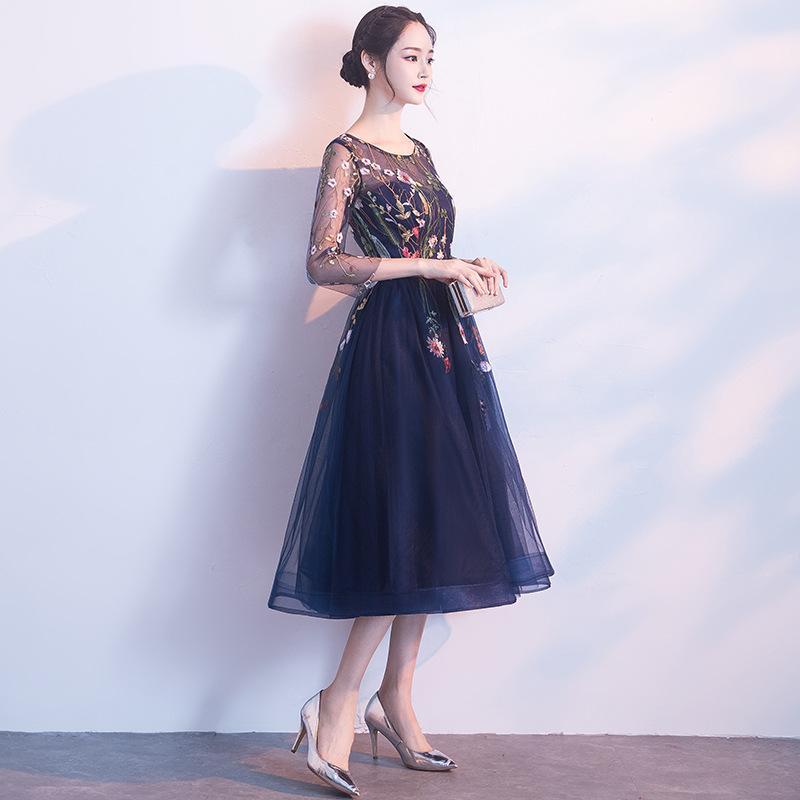 DongCMY 2020 Chegada Nova Curto Flor Prom Marinha Dresses Azul Vestido Vestidos Festa