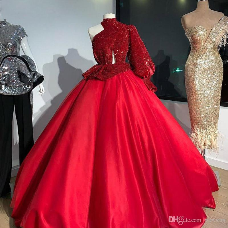Red One Shoulder Long Sleeve Evening Dresses Sequin Satin Keyhole Neck Prom Dress Plus Size Long Party Gowns