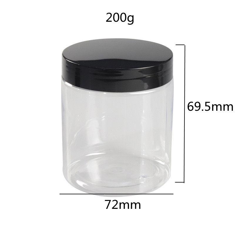 Drop Shipping 200г Очистить контейнер пластикового крем Jar, пустой пластик повторного использования с крышками для печати пользовательских логотипов