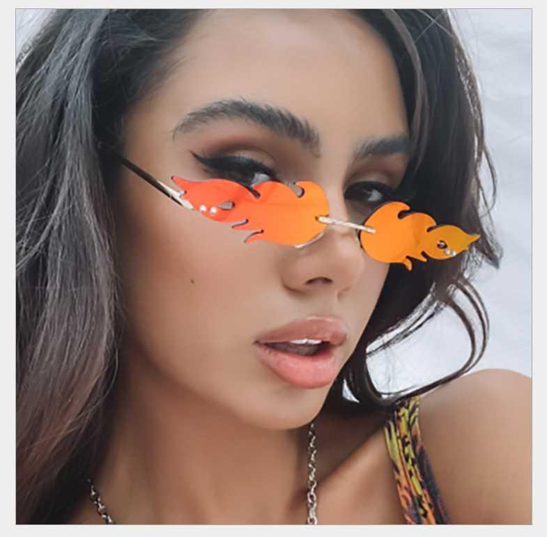Новый 2020 Мода огонь пламя Солнцезащитные очки Женщины Мужчины Марка Дизайн Rimless Wave очки Luxury Trending Ограниченный ВС очки Streetwear