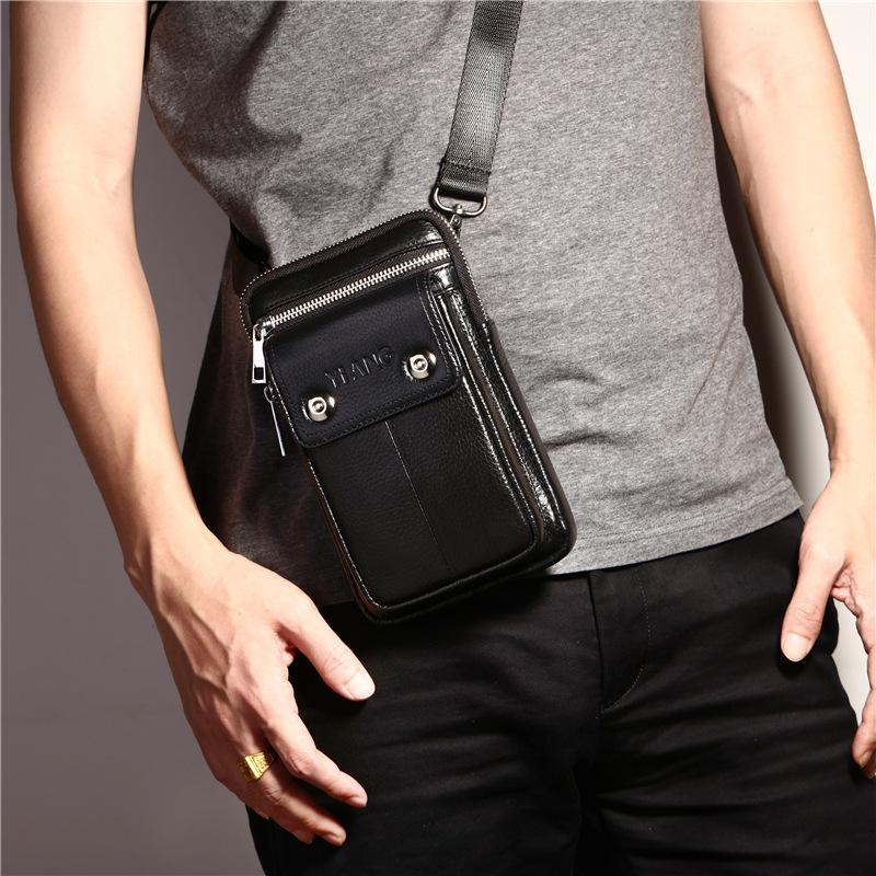 2 IN Leather Men Man Belt Vintage Packs Mini Waist Leather Genuine Bags Natural Cowhide 1 100% Bags Messenger Business Bmhsb