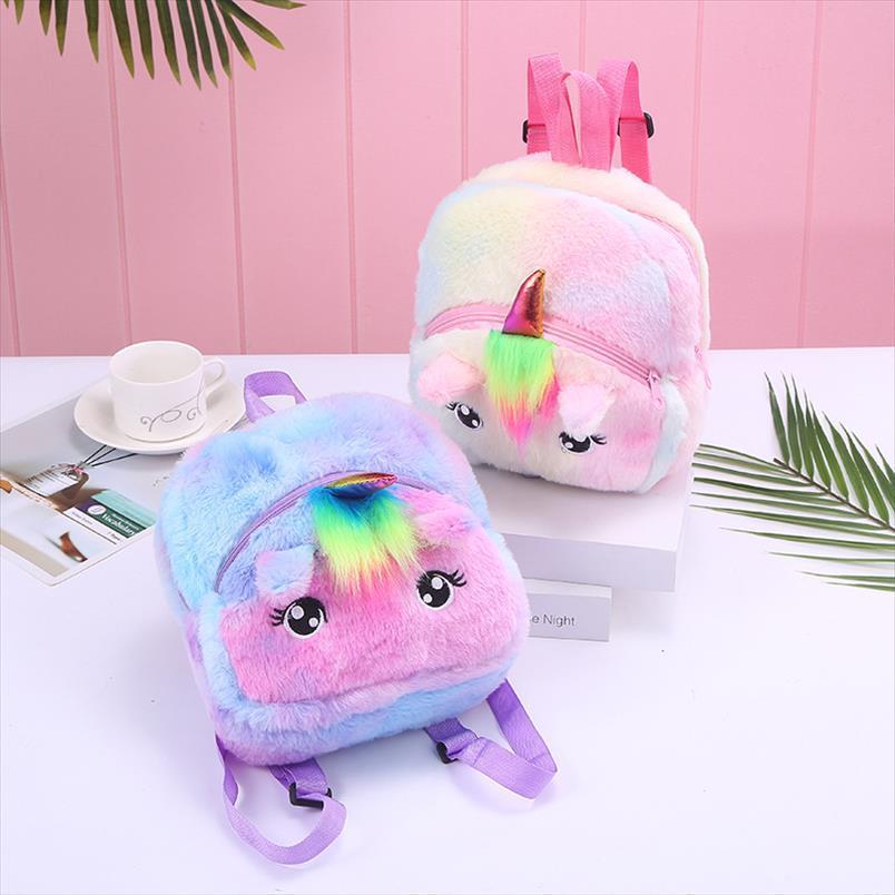 Yeni 2020 3D Unicorn Çocuklar Mini Sırt Çantası Peluş Karikatür Mochila Çanta Kız Çocuk Çanta Okul Sırt Çantası Boy Okulu Escolar Qcuxa