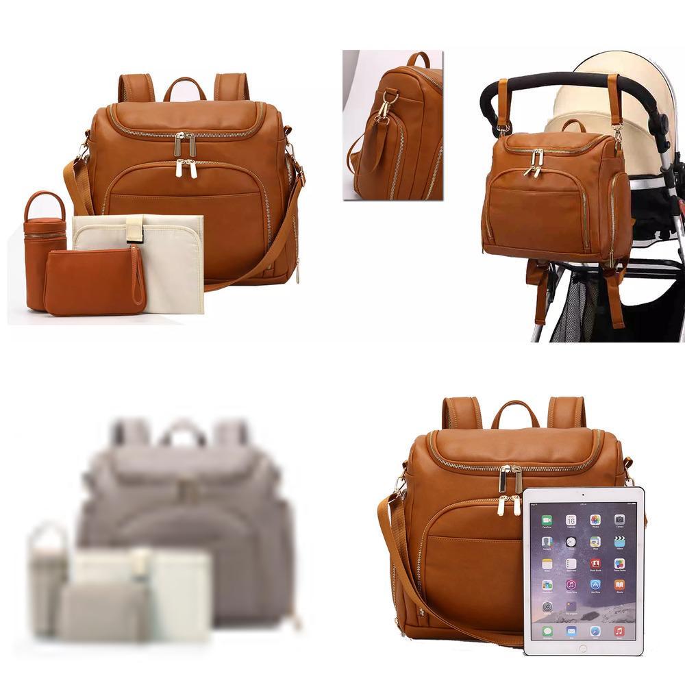 HBP PU cuero bebé nappy pañal bolsa mochila + cambio de la almohadilla + correas de cochecito + bolsa de aislamiento + cosmético Q1221