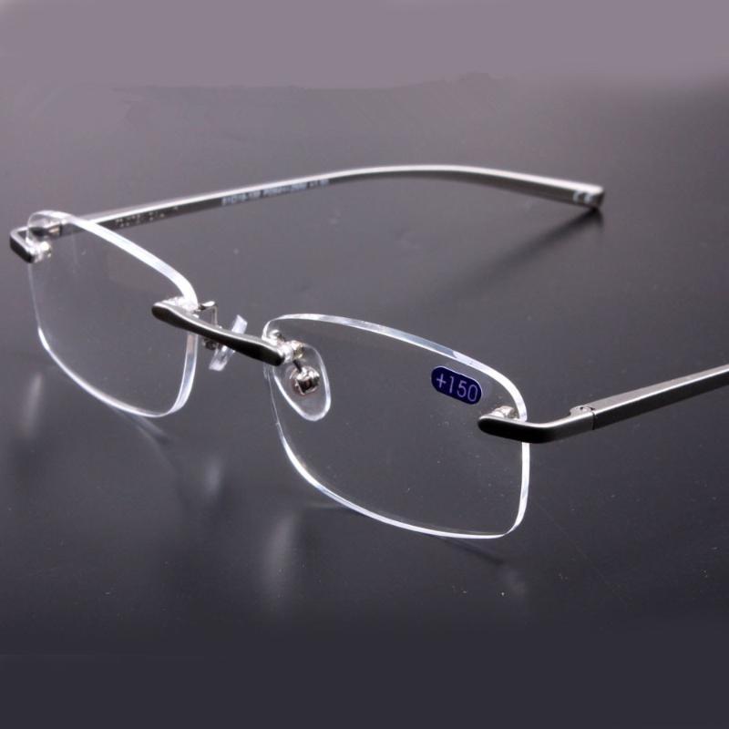 Okuma Gri Çerçeve Şeffaf Lensler Alüminyum Magnezyum Kalite Rimless Okuma Gözlüğü Erkekler Çerçeveler Kadınlar Gözlükler