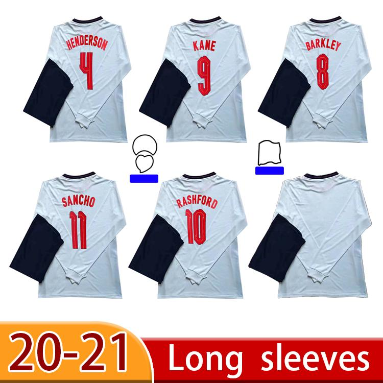 2020 Jersey Jersey Kane Vardy Rashford Sterling Dele 20 21 Manga Longa Home Adulto Camisa de Futebol de Alta Qualidade