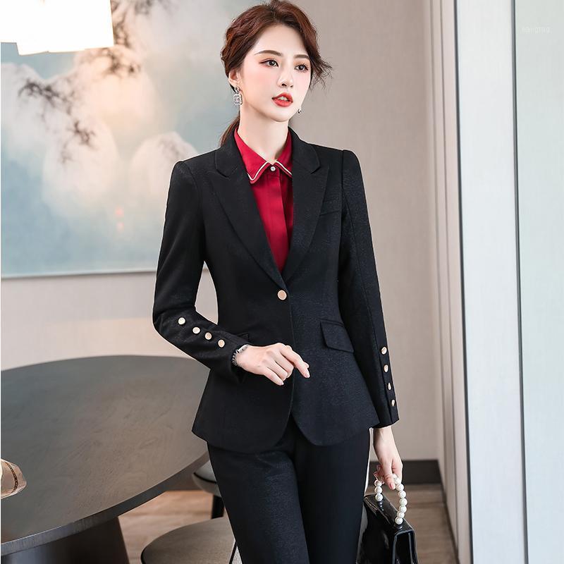 Trajes de mujer Blazers Mujeres elegante pantalón traje negro azul marino rosa sólido slim s-5xl oficina dama 2 pieza conjunto blazer negocio trabajo chaquetas y pa