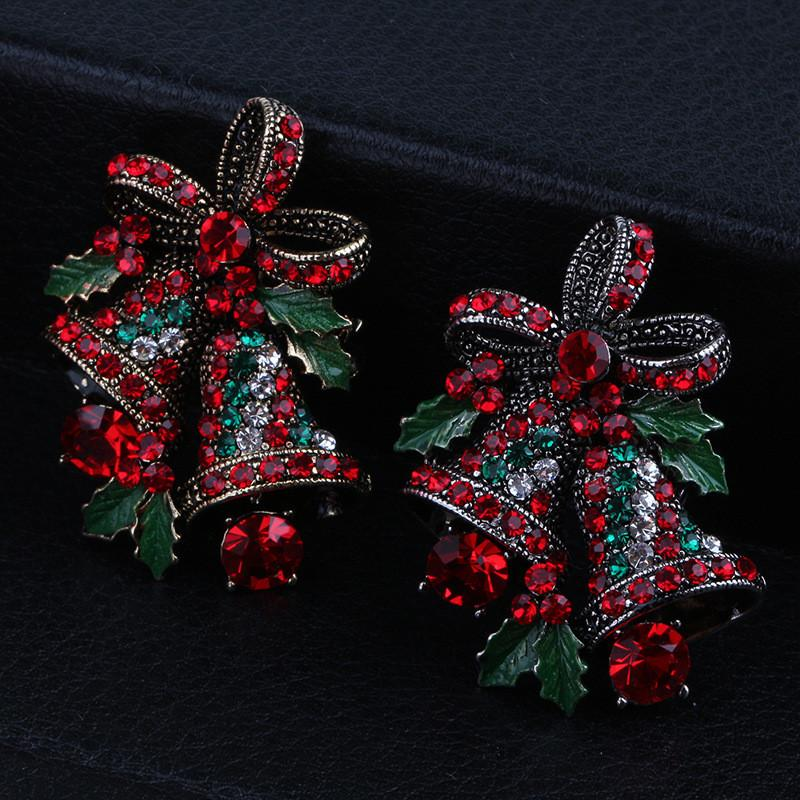 Amabili Due Bow Bells Spille per le donne di Natale Spille Suit Pins regalo creativo Vintage cappotto dei monili Abito Accessori RRA3667
