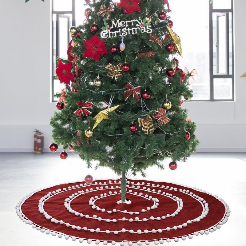 Decorações de Natal 122cm Saia de árvore de luxo bola de pele vermelha para o feriado home do partido do Xmas