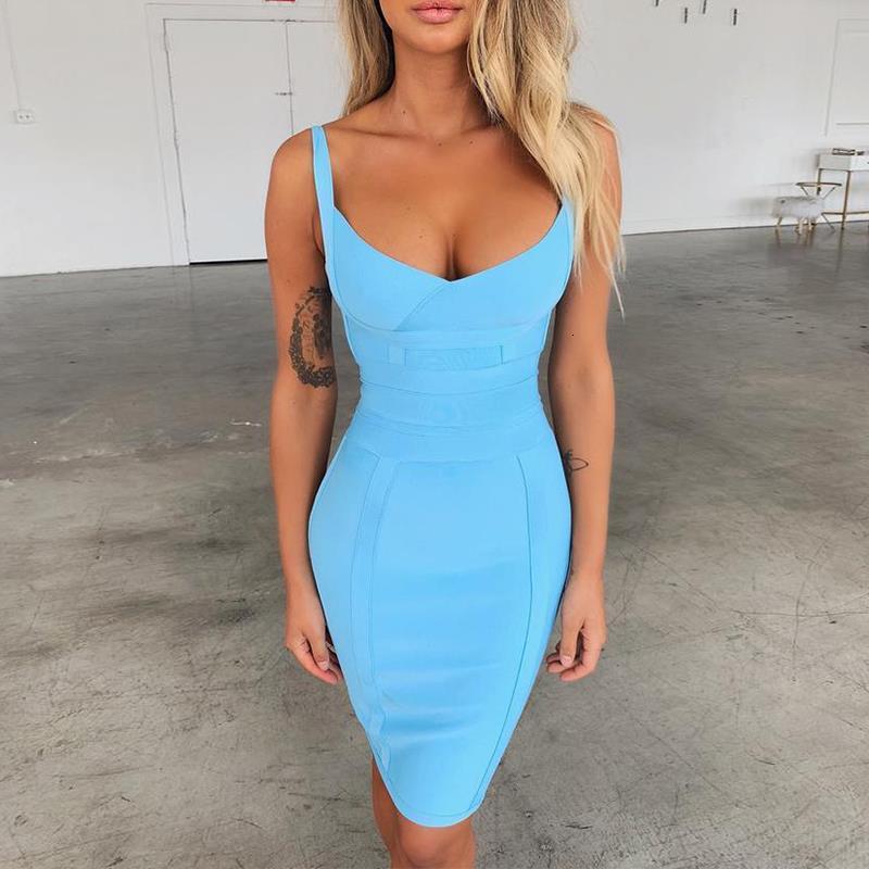 Vestidos vendajes 2021 recién llegados Aqua azul espagueti correa verano mujer sexy vestido vendaje vestido bodycon clubwear fiesta