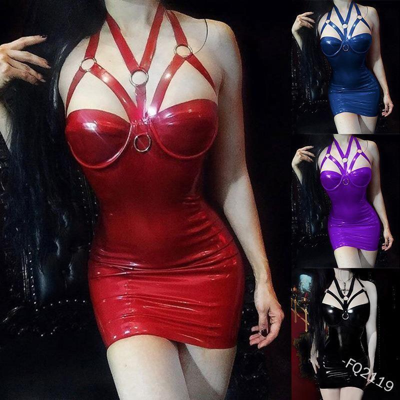 S-5XL Sexy Gothic Korsett Choker Kleid Leder Skinny Bodycon Mini Halter Neck Kurze Kleid Frauen Punk Club Für Mädchen Plus Größe