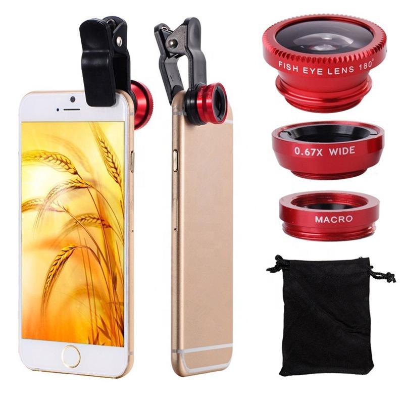 Alta Qualidade 3 em 1 Telefone Celular Lente Super Fisheye Camera Grande Angular Lente Macro Com Caso