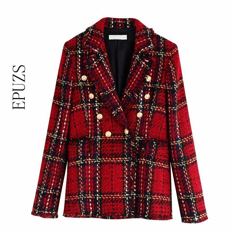 Vintage Double Breasted Tweed Blazer Women Notched Collar Long Sleeve Plaid blazer coat spring casual office suit jacket 201009