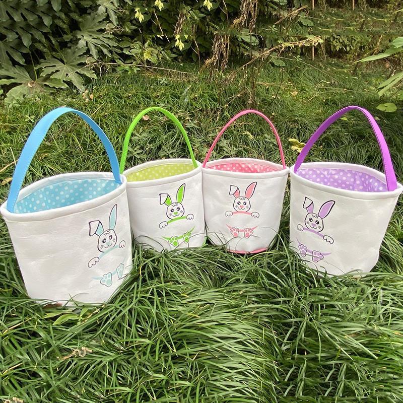 2021 Couleurs de Pâques Panier d'œufs Pâques Bunny Sacs Sacs Toile à toile imprimée Lapin Sac à boucles d'œufs Paniers Cadeaux Cadeau Sac à main T9I001054
