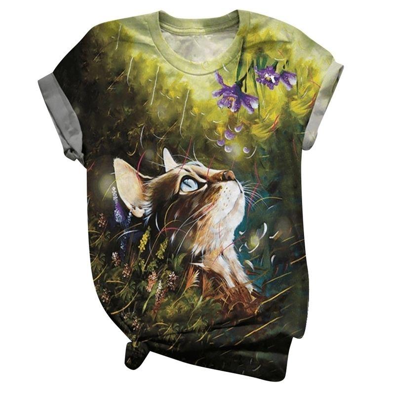 Nette Katze gedruckt 2021 Neue Casual Frauen Kurzarm Oansatz Tops T-Shirts Weibliche Kleidung Streetwear Z0609