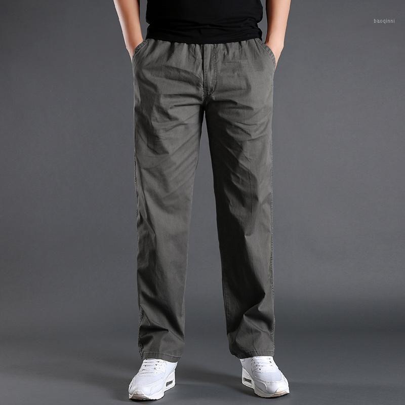 L-6xl pantalones de carga hombres bolsillo de bolsillo de bolsillo longitud completa pantalones masculinos simples pantalones rectos homma homme homen algodón casual gris