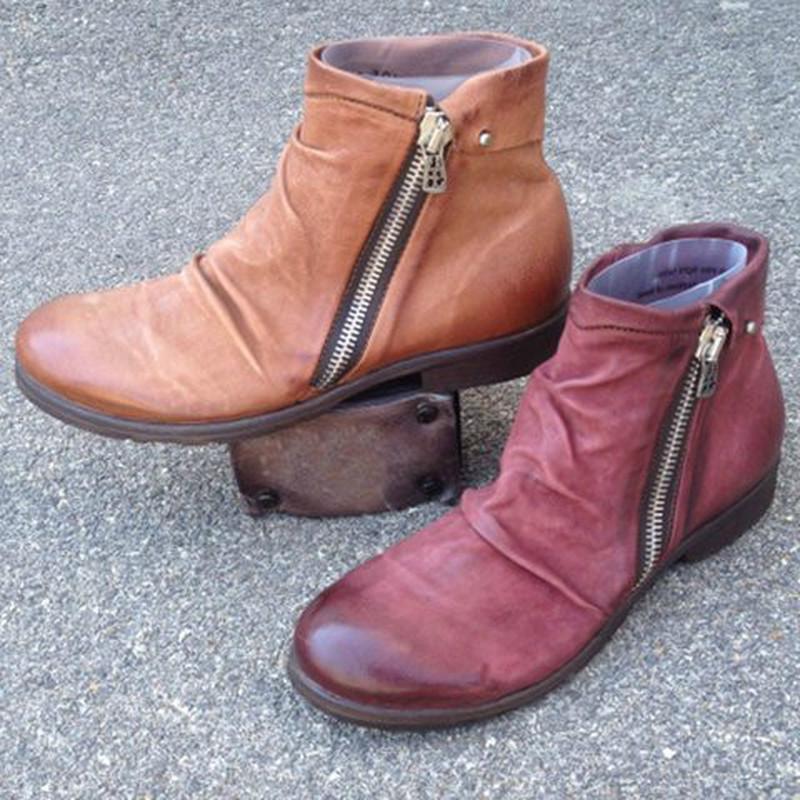 femmes cheville bottes Flats chaussures femme vintage PU cuir matines plus la taille de chaussures chaussures plat chaud femme Zapatos mujer sapatoD2259