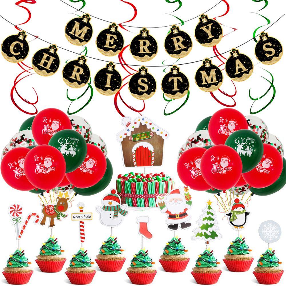 12 بوصة جولة اللاتكس بالونات عيد الميلاد عيد الميلاد راية الحزب لوازم الألومنيوم فيلم مع ديكور المشهد بالونات عيد الميلاد