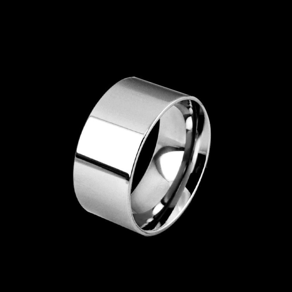Placa lisa simples de aço inoxidável homens brilhantes e prata, anel dos amantes, 10mm