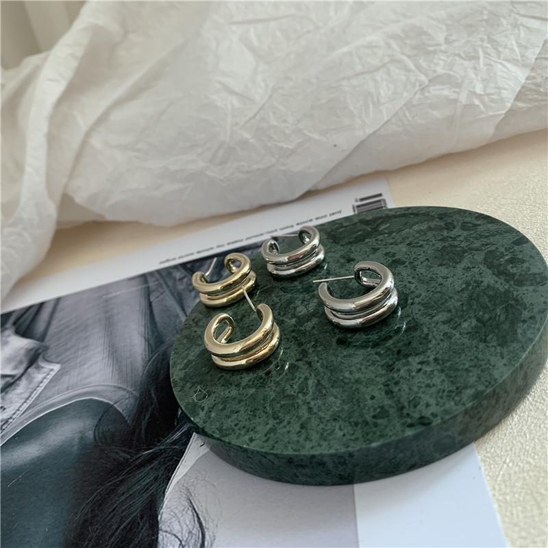 Pendientes gótico de la Mujer doble de la vendimia de los círculos de los pendientes de aro de la joyería punky geométrico semi-círculo pendiente Femee Brincos 2020