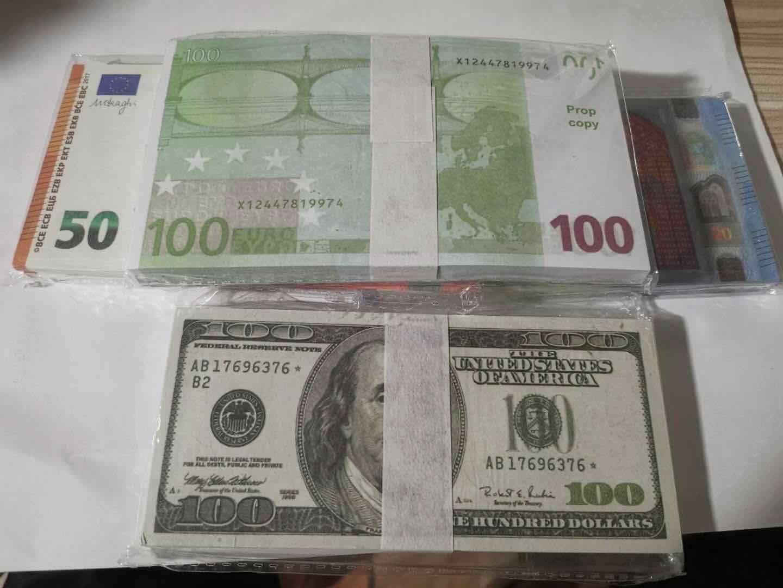 Heiße Verkäufe Fake Money-Filme-Requisite-Banknote-Zählung Prop-Geld-festliches Party-Spiele Sammlungsgeschenke Euro 100, 20 Dollar, 100Dollars E120D1