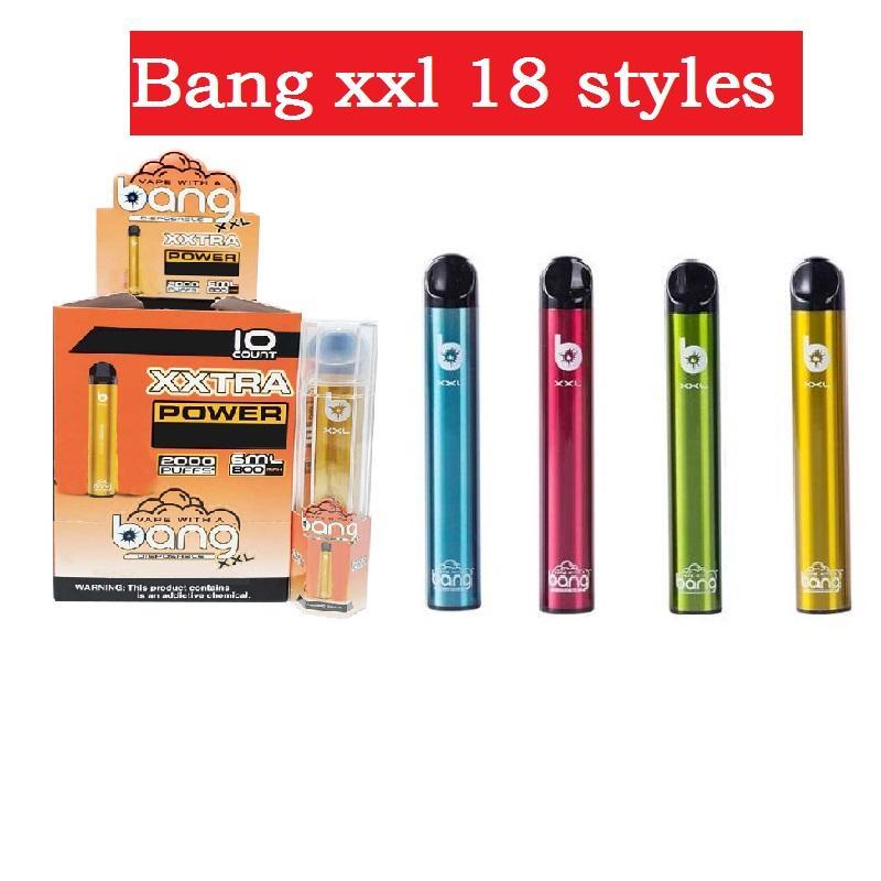 BANG XXL Dispositivo de pluma vape de vape de 800 mAh batería 6ml vapores vacíos 2000 bang bang xxtra kit