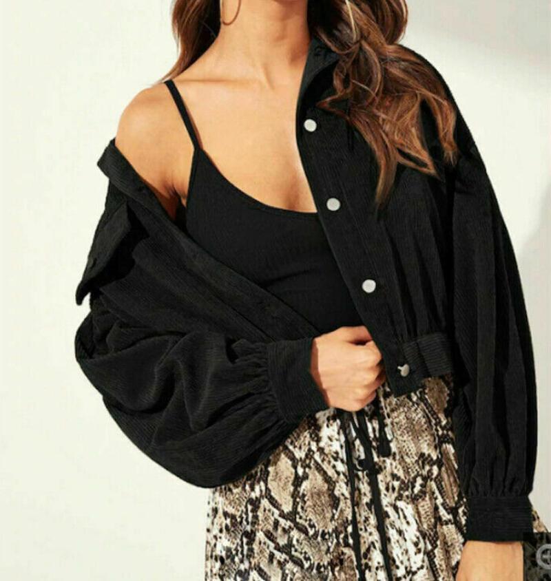 Mulheres Moda Corduroy jaqueta com botões manga comprida Jaqueta Curta Casacos soltas Casual Puff luva Outwear
