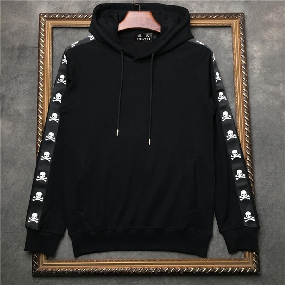 Мужские 100% хлопок черный маленький череп Печать на обеих руках пуловер толстовка мужская свитер костюма DD | 41935D520 JQFK