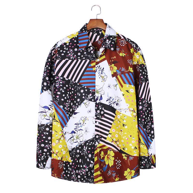 남성용 캐미 사 파라 홈 브리 만화 Larga de Trabajo 패션 인쇄 긴 소매 셔츠 블라우스 탑 Herenkleding 소프트 chemise # 3
