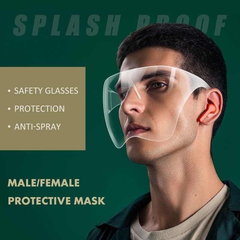 Водонепроницаемый противотуманный всплеск Splash Croplet Blocc Face Shield Reasable прозрачный ПВХ поверхность крышки лица Полная прочная дышащая маска для визуализации YL0074