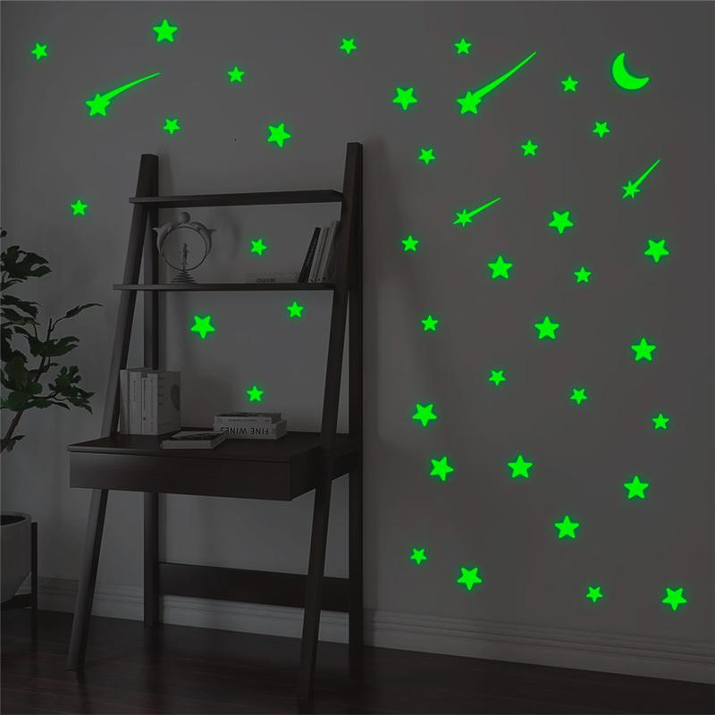 Метеор Креативных звезды Moon Luminous на наклейках для Детской комнаты Home Decor Зеленый Светящегося в темноте Флуоресцентного украшения стены Drnd