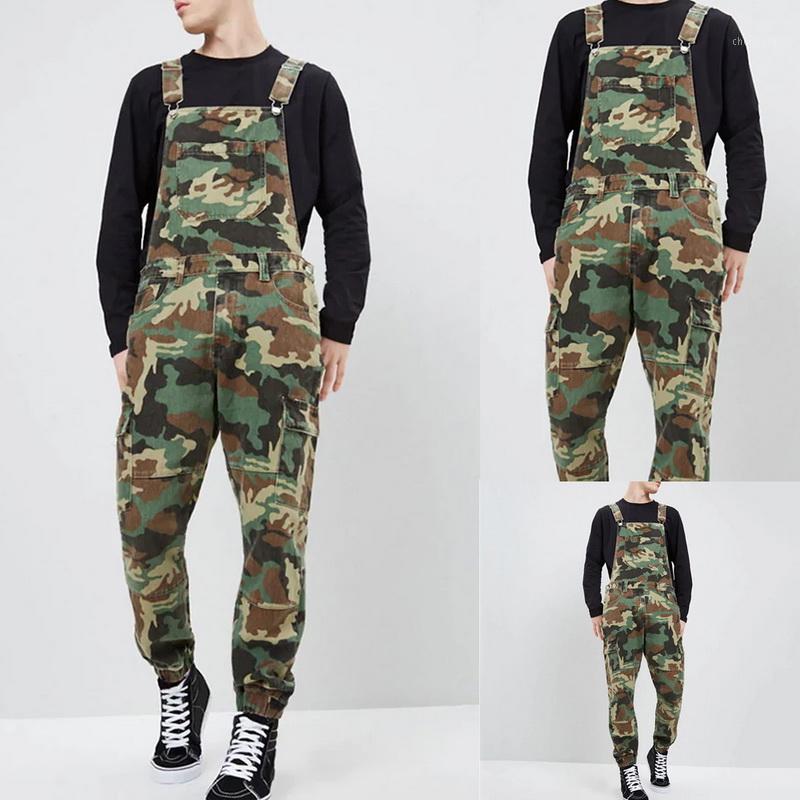 Novo Outono Mens Jeans Moda Slim Fit Ankle Comprimento Denim Babão macacão macacão Outono Comprimento total Camuflagem Suspender Calças1