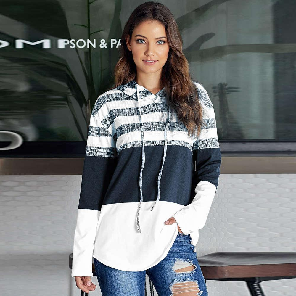 2021 Spring Autumn new women's loose design Hoodie Pullover long sleeve contrast sweater 2Ienbel