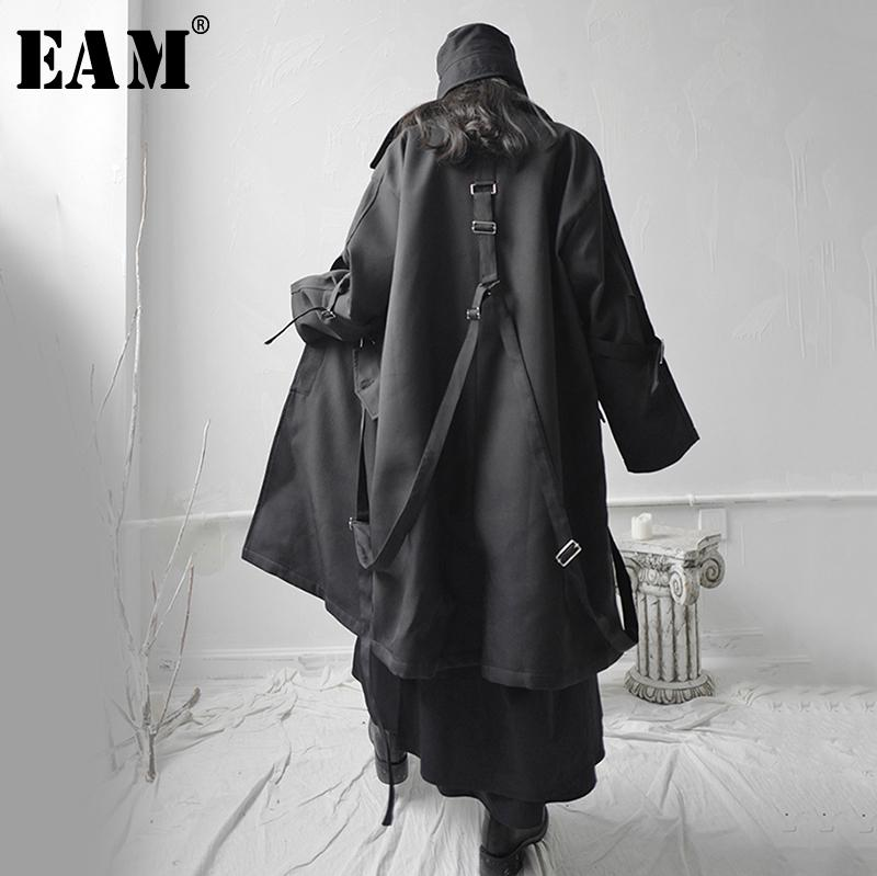 Allentato Black Fibbia Asimmetrica Big Size Giacca Big Size Nuovo risvolto manica lunga [EAM] Donne Cappotto Moda Moda Molla Molla 2020 1S655