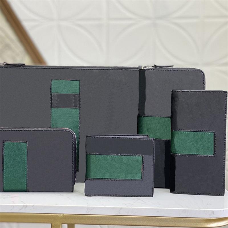 Luxurys para hombre ofidios Bolsas pasaporte caja de la carpeta del bolso del tenedor de tarjeta monedero Hombres Mujeres bolsos originales de los diseñadores Bolsas de cuero con la caja